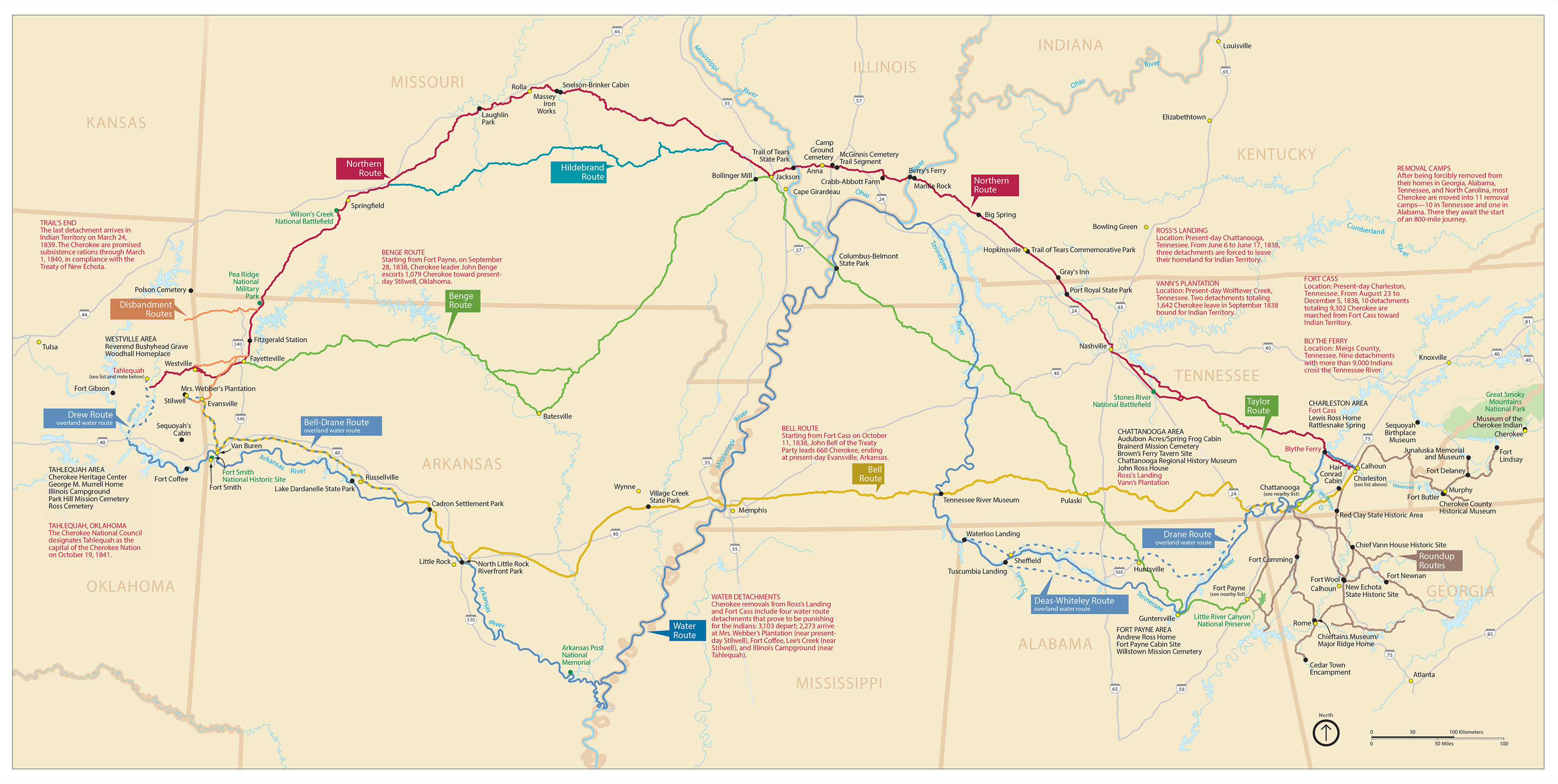 Map of Cherokee Removal Routes